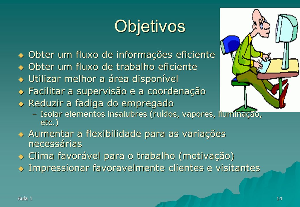 Aula 113 Sintomas de problemas Demora excessiva Demora excessiva –Perda de tempo no deslocamento Fluxo confuso de trabalho Fluxo confuso de trabalho –