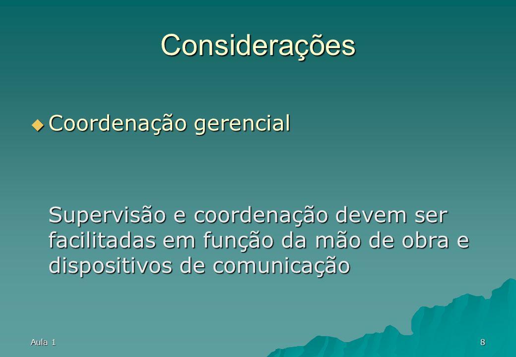 Aula 18 Considerações Coordenação gerencial Coordenação gerencial Supervisão e coordenação devem ser facilitadas em função da mão de obra e dispositivos de comunicação
