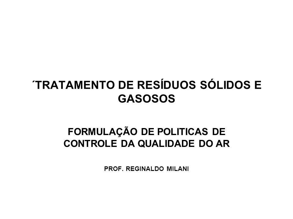 ´TRATAMENTO DE RESÍDUOS SÓLIDOS E GASOSOS FORMULAÇÃO DE POLITICAS DE CONTROLE DA QUALIDADE DO AR PROF. REGINALDO MILANI
