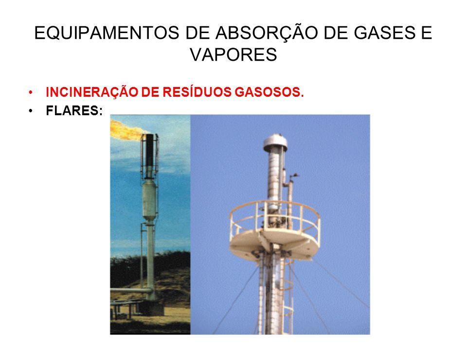 EQUIPAMENTOS DE ABSORÇÃO DE GASES E VAPORES INCINERAÇÃO DE RESÍDUOS GASOSOS. FLARES: