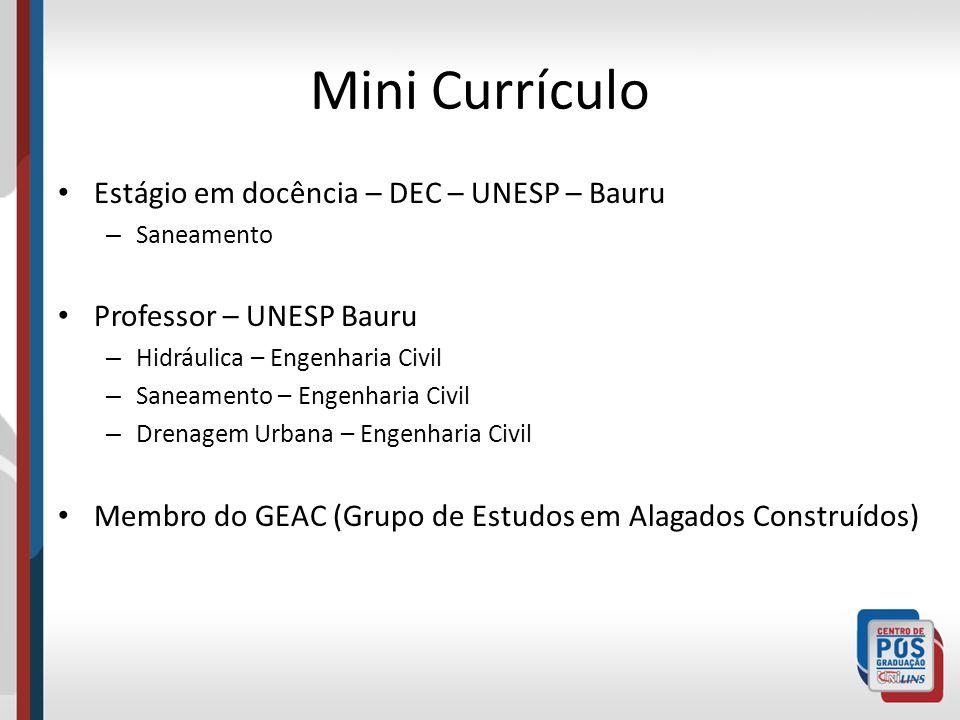 Mini Currículo Estágio em docência – DEC – UNESP – Bauru – Saneamento Professor – UNESP Bauru – Hidráulica – Engenharia Civil – Saneamento – Engenhari