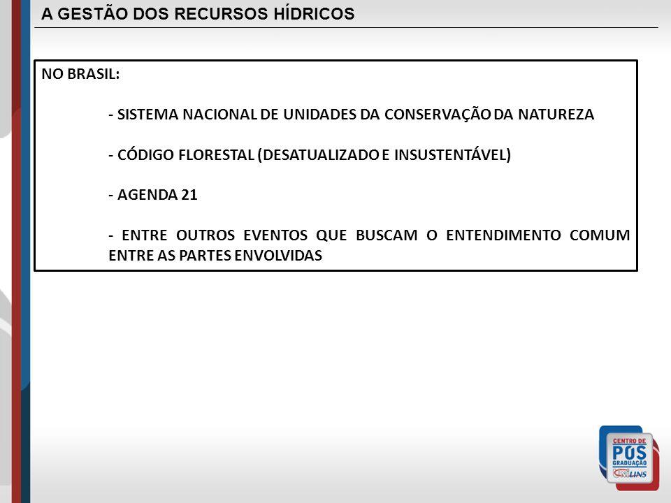 A GESTÃO DOS RECURSOS HÍDRICOS NO BRASIL: - SISTEMA NACIONAL DE UNIDADES DA CONSERVAÇÃO DA NATUREZA - CÓDIGO FLORESTAL (DESATUALIZADO E INSUSTENTÁVEL)
