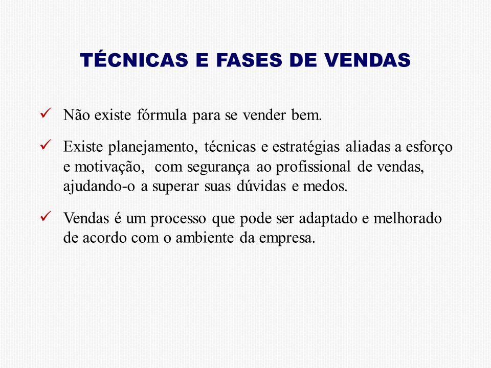 TÉCNICAS E FASES DE VENDAS Não existe fórmula para se vender bem.