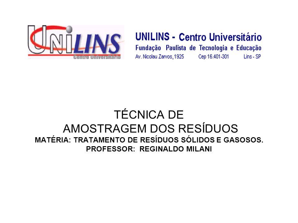 TÉCNICA DE AMOSTRAGEM DOS RESÍDUOS MATÉRIA: TRATAMENTO DE RESÍDUOS SÓLIDOS E GASOSOS. PROFESSOR: REGINALDO MILANI