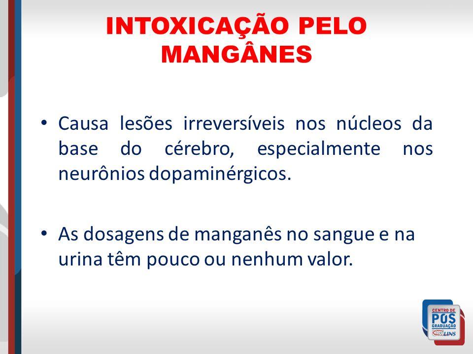 INTOXICAÇÃO PELO MANGÂNES Causa lesões irreversíveis nos núcleos da base do cérebro, especialmente nos neurônios dopaminérgicos. As dosagens de mangan