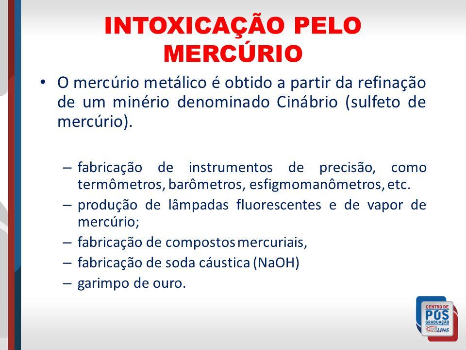 INTOXICAÇÃO PELO MERCÚRIO O mercúrio metálico é obtido a partir da refinação de um minério denominado Cinábrio (sulfeto de mercúrio). – fabricação de