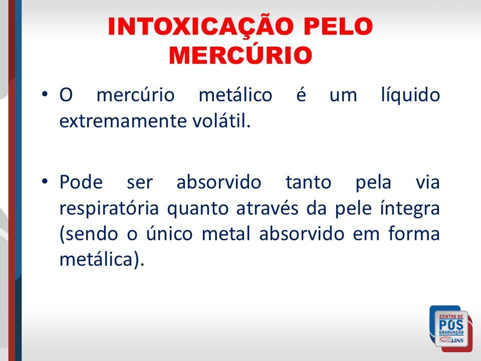 INTOXICAÇÃO PELO MERCÚRIO O mercúrio metálico é um líquido extremamente volátil. Pode ser absorvido tanto pela via respiratória quanto através da pele