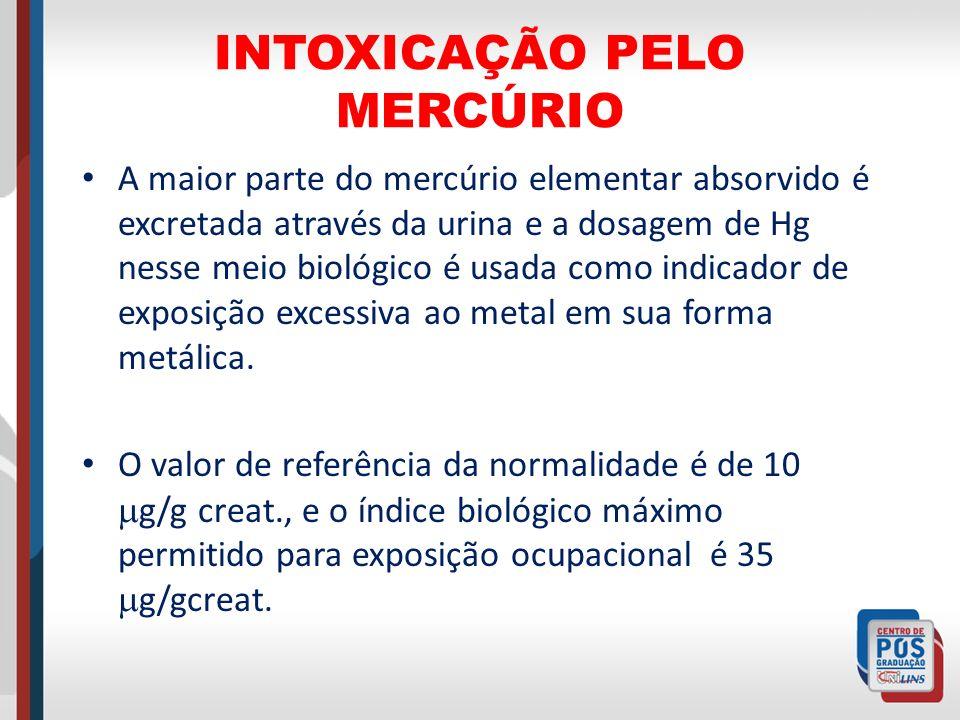 INTOXICAÇÃO PELO MERCÚRIO A maior parte do mercúrio elementar absorvido é excretada através da urina e a dosagem de Hg nesse meio biológico é usada co