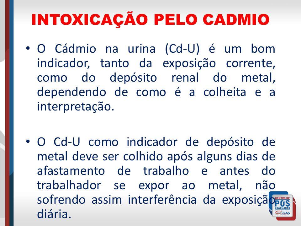 INTOXICAÇÃO PELO CADMIO O Cádmio na urina (Cd-U) é um bom indicador, tanto da exposição corrente, como do depósito renal do metal, dependendo de como