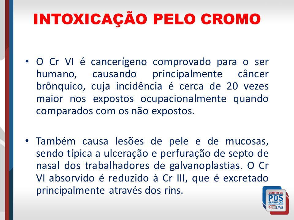 INTOXICAÇÃO PELO CROMO O Cr VI é cancerígeno comprovado para o ser humano, causando principalmente câncer brônquico, cuja incidência é cerca de 20 vez
