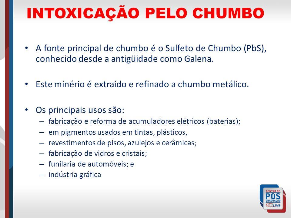 INTOXICAÇÃO PELO CHUMBO A fonte principal de chumbo é o Sulfeto de Chumbo (PbS), conhecido desde a antigüidade como Galena. Este minério é extraído e