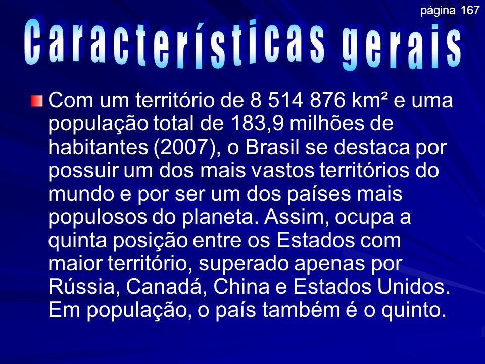 Com um território de 8 514 876 km² e uma população total de 183,9 milhões de habitantes (2007), o Brasil se destaca por possuir um dos mais vastos ter