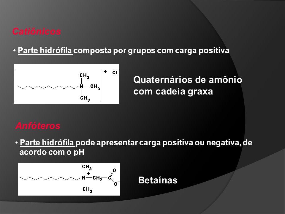 Aniônicos Parte hidrófila composta por grupos com carga negativa Parte hidrófoba pode ser um Álcool graxo, Dodecilbenzeno, Ácidos graxos, entre outros