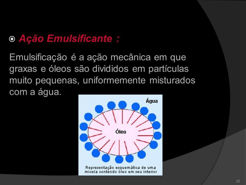 Ação Umectante(ou tensoativa) 24 Propriedade do detergente de diminuir a tensão superficial do meio, aumentando a capacidade de penetração, e facilita