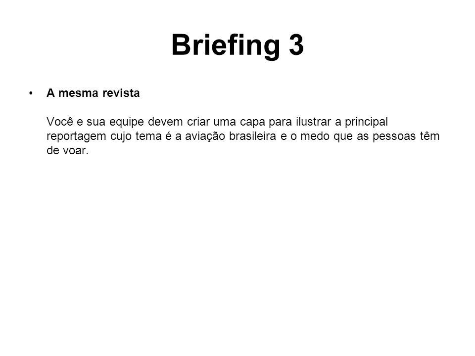Briefing 3 A mesma revista Você e sua equipe devem criar uma capa para ilustrar a principal reportagem cujo tema é a aviação brasileira e o medo que a