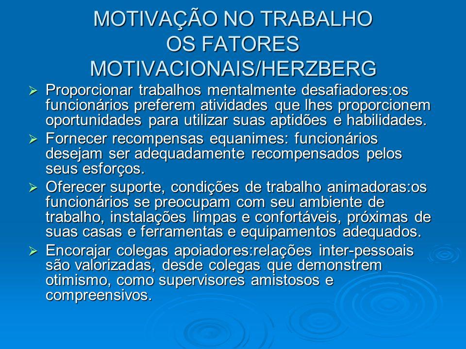 MOTIVAÇÃO NO TRABALHO OS FATORES MOTIVACIONAIS/HERZBERG Proporcionar trabalhos mentalmente desafiadores:os funcionários preferem atividades que lhes p