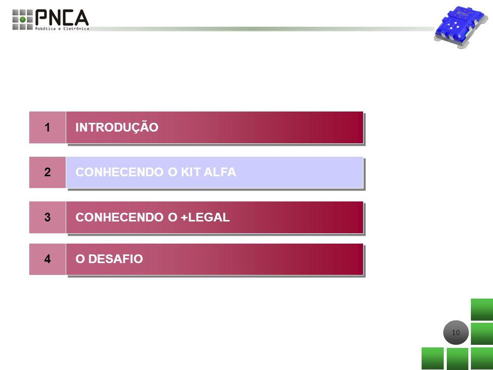 10 1 2 INTRODUÇÃO CONHECENDO O KIT ALFA 3 CONHECENDO O +LEGAL 4 O DESAFIO