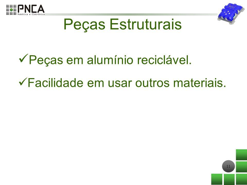 11 Peças Estruturais Peças em alumínio reciclável. Facilidade em usar outros materiais.