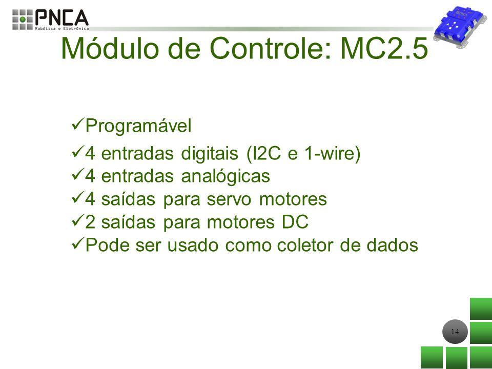 14 Módulo de Controle: MC2.5 Programável 4 entradas digitais (I2C e 1-wire) 4 entradas analógicas 4 saídas para servo motores 2 saídas para motores DC