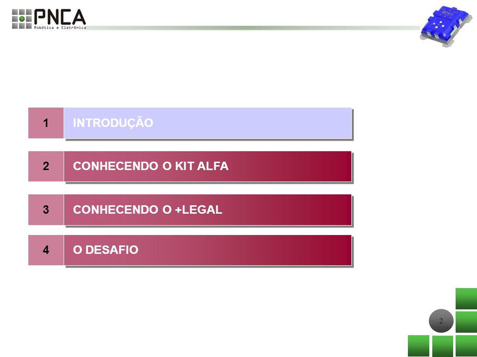 2 1 2 INTRODUÇÃO CONHECENDO O KIT ALFA 3 CONHECENDO O +LEGAL 4 O DESAFIO