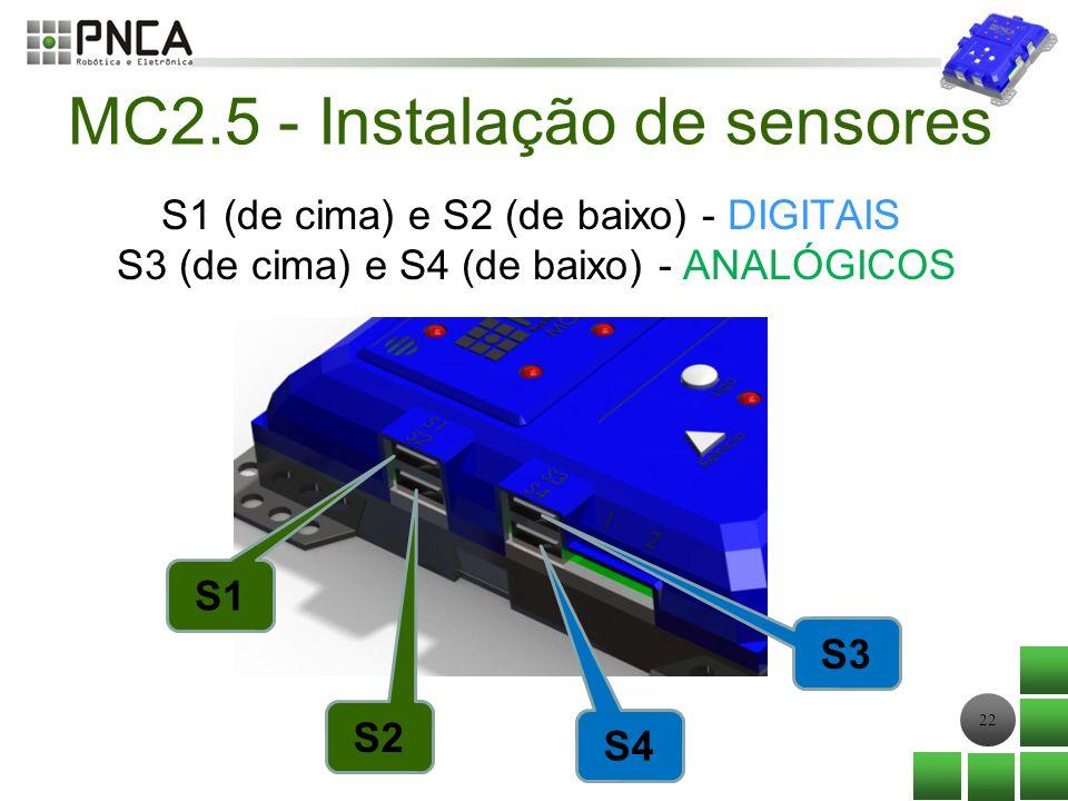 22 S1 (de cima) e S2 (de baixo) - DIGITAIS S3 (de cima) e S4 (de baixo) - ANALÓGICOS S1 S2 S4 S3 MC2.5 - Instalação de sensores