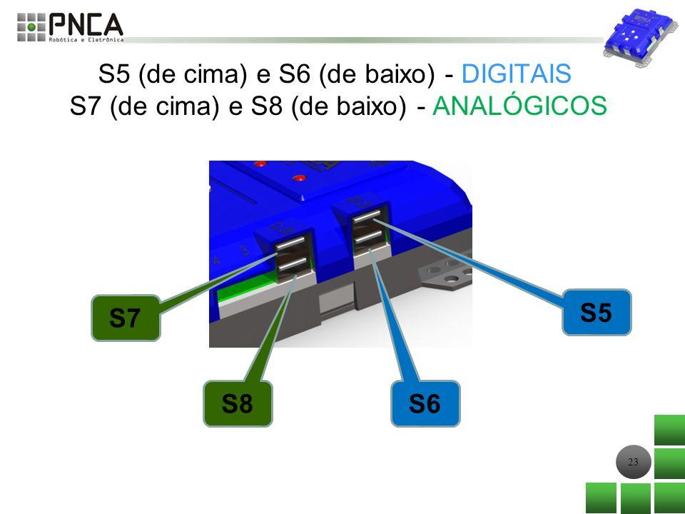 23 S5 (de cima) e S6 (de baixo) - DIGITAIS S7 (de cima) e S8 (de baixo) - ANALÓGICOS S7 S8 S6 S5