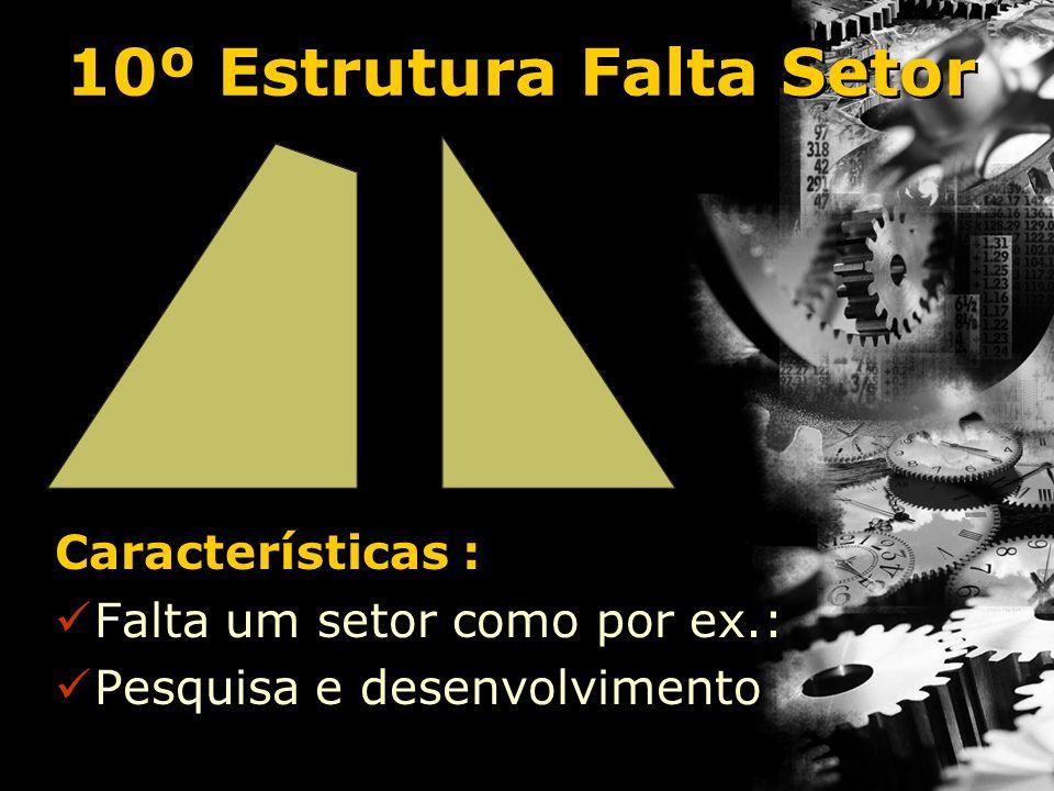 10º Estrutura Falta Setor Características : Falta um setor como por ex.: Pesquisa e desenvolvimento Características : Falta um setor como por ex.: Pes