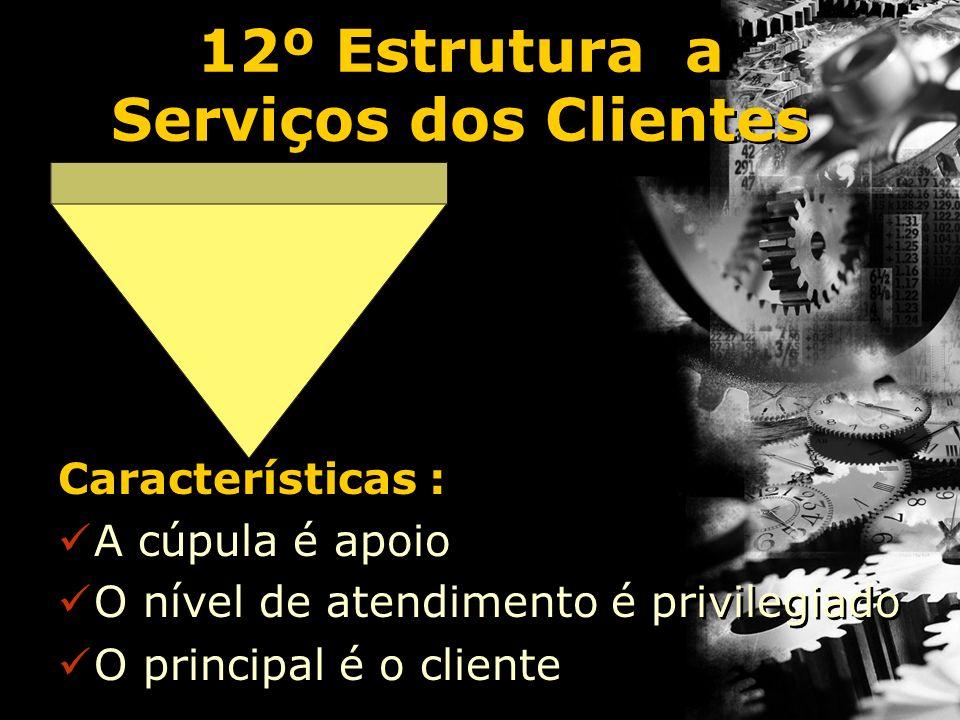 12º Estrutura a Serviços dos Clientes Características : A cúpula é apoio O nível de atendimento é privilegiado O principal é o cliente Características