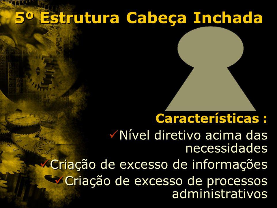 5º Estrutura Cabeça Inchada Características : Nível diretivo acima das necessidades Criação de excesso de informações Criação de excesso de processos