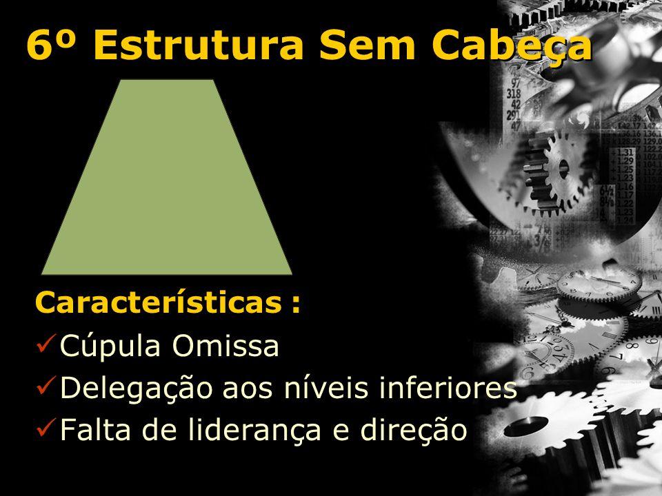 7º Estrutura Sem Corpo de Chefia e Gerência Características : Falta de nível intermediário A cúpula ordena diretamente a execução Dificuldades no controle