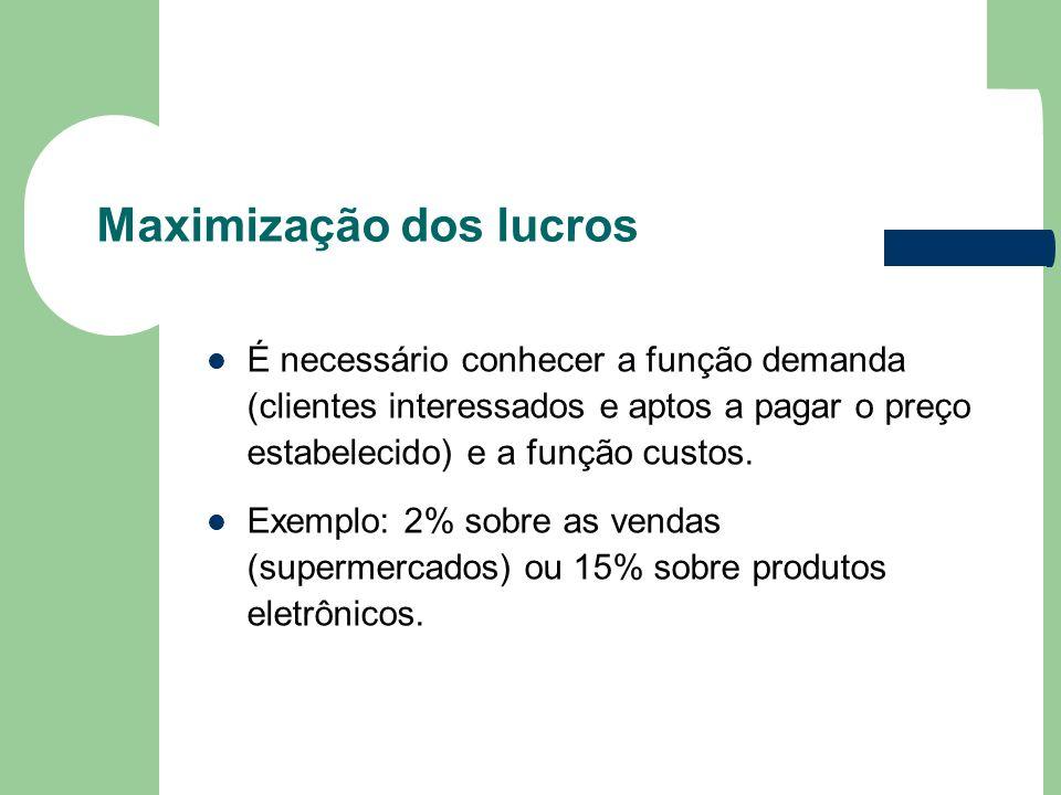 Maximização dos lucros É necessário conhecer a função demanda (clientes interessados e aptos a pagar o preço estabelecido) e a função custos. Exemplo: