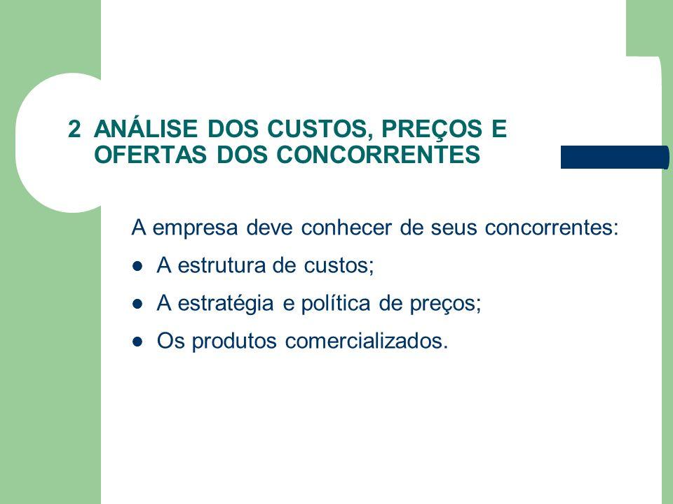 2 ANÁLISE DOS CUSTOS, PREÇOS E OFERTAS DOS CONCORRENTES A empresa deve conhecer de seus concorrentes: A estrutura de custos; A estratégia e política d