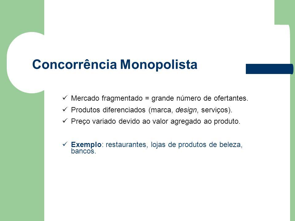 Concorrência Monopolista Mercado fragmentado = grande número de ofertantes. Produtos diferenciados (marca, design, serviços). Preço variado devido ao