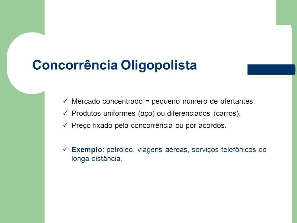 Concorrência Oligopolista Mercado concentrado = pequeno número de ofertantes. Produtos uniformes (aço) ou diferenciados (carros). Preço fixado pela co