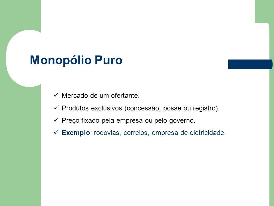 Monopólio Puro Mercado de um ofertante. Produtos exclusivos (concessão, posse ou registro). Preço fixado pela empresa ou pelo governo. Exemplo: rodovi