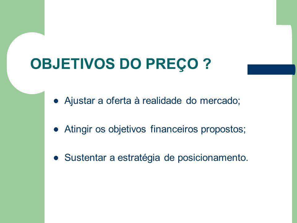 OBJETIVOS DO PREÇO ? Ajustar a oferta à realidade do mercado; Atingir os objetivos financeiros propostos; Sustentar a estratégia de posicionamento.