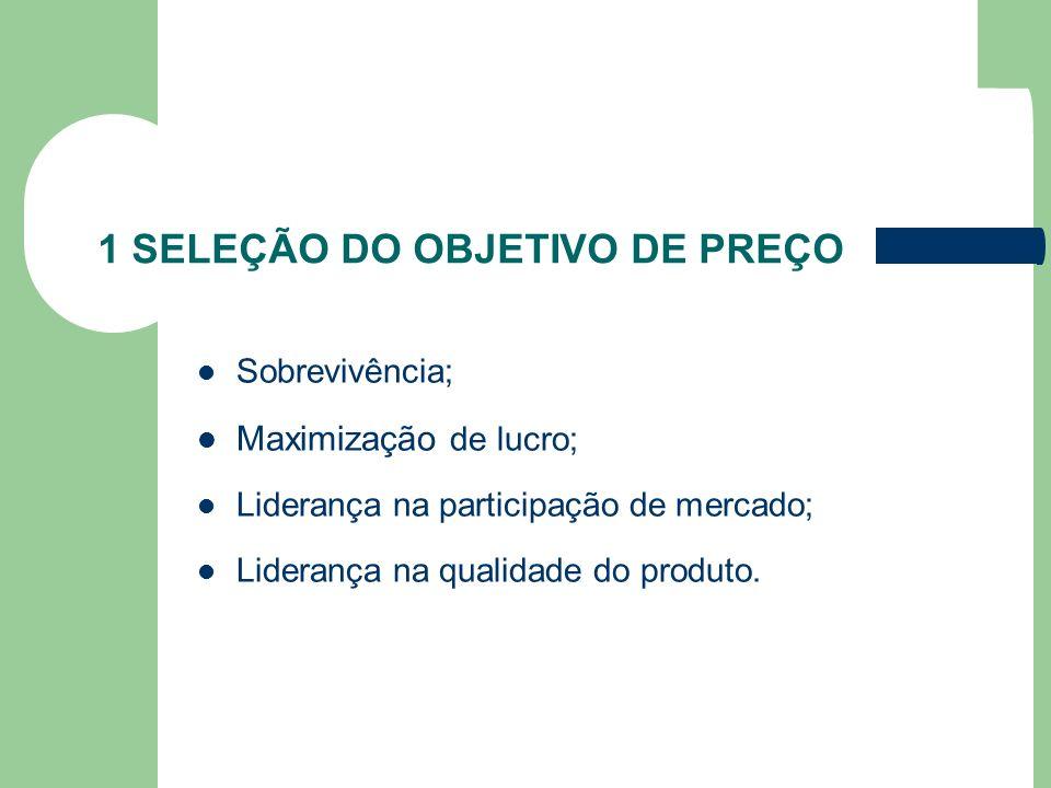 1 SELEÇÃO DO OBJETIVO DE PREÇO Sobrevivência; Maximização de lucro; Liderança na participação de mercado; Liderança na qualidade do produto.