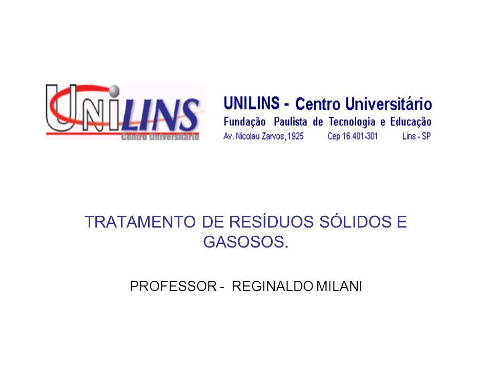 TRATAMENTO DE RESÍDUOS SÓLIDOS E GASOSOS. PROFESSOR - REGINALDO MILANI