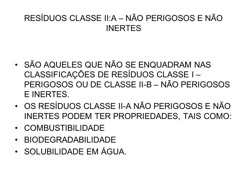 RESÍDUOS CLASSE II:A – NÃO PERIGOSOS E NÃO INERTES SÃO AQUELES QUE NÃO SE ENQUADRAM NAS CLASSIFICAÇÕES DE RESÍDUOS CLASSE I – PERIGOSOS OU DE CLASSE I