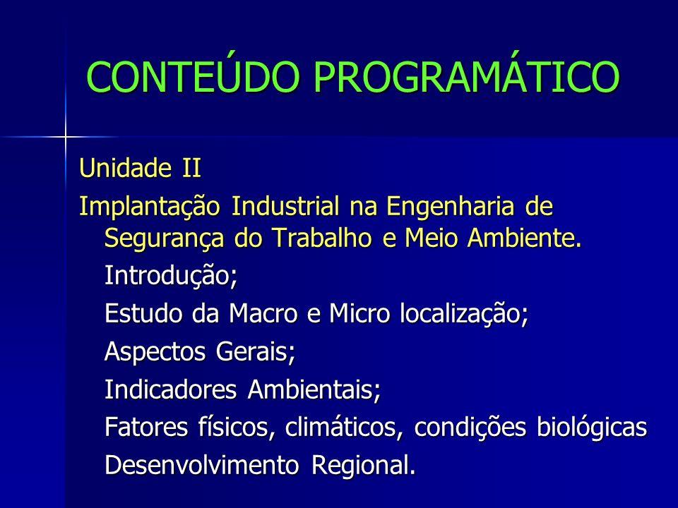 CONTEÚDO PROGRAMÁTICO Unidade II Implantação Industrial na Engenharia de Segurança do Trabalho e Meio Ambiente. Introdução; Estudo da Macro e Micro lo