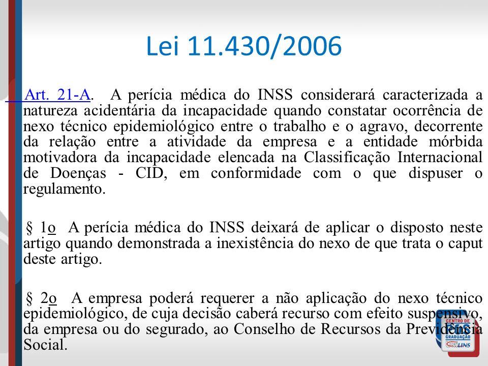 Lei 11.430/2006 Art. 21-A Art. 21-A. A perícia médica do INSS considerará caracterizada a natureza acidentária da incapacidade quando constatar ocorrê