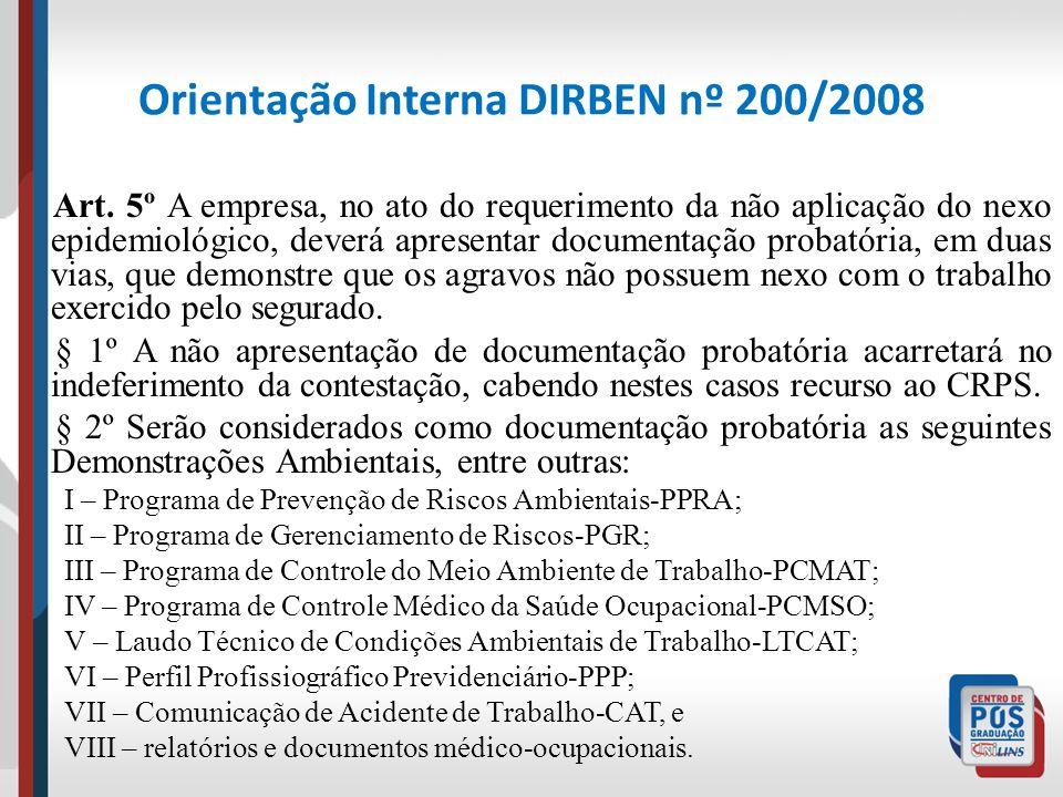 Orientação Interna DIRBEN nº 200/2008 Art. 5º A empresa, no ato do requerimento da não aplicação do nexo epidemiológico, deverá apresentar documentaçã