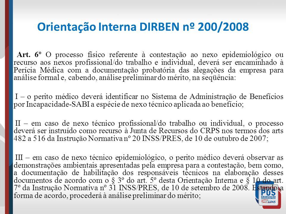 Orientação Interna DIRBEN nº 200/2008 Art. 6º O processo físico referente à contestação ao nexo epidemiológico ou recurso aos nexos profissional/do tr