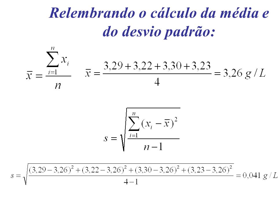 Relembrando o cálculo da média e do desvio padrão: