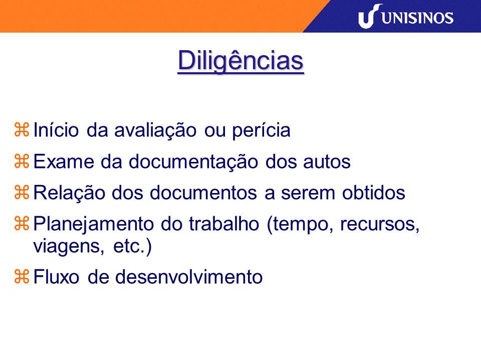 Diligências Início da avaliação ou perícia Exame da documentação dos autos Relação dos documentos a serem obtidos Planejamento do trabalho (tempo, rec