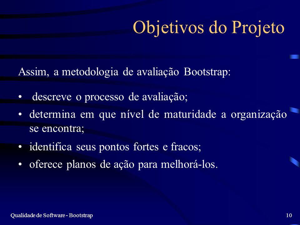 Qualidade de Software - Bootstrap10 Objetivos do Projeto Assim, a metodologia de avaliação Bootstrap: descreve o processo de avaliação; determina em que nível de maturidade a organização se encontra; identifica seus pontos fortes e fracos; oferece planos de ação para melhorá-los.