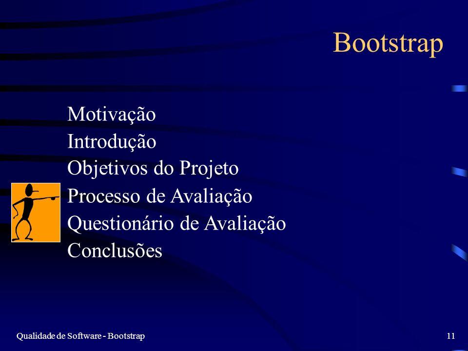 Qualidade de Software - Bootstrap11 Bootstrap Motivação Introdução Objetivos do Projeto Processo de Avaliação Questionário de Avaliação Conclusões