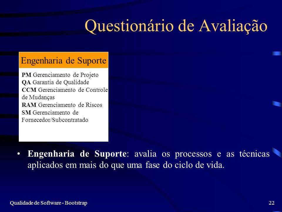 Qualidade de Software - Bootstrap22 Questionário de Avaliação Engenharia de Suporte: avalia os processos e as técnicas aplicados em mais do que uma fase do ciclo de vida.