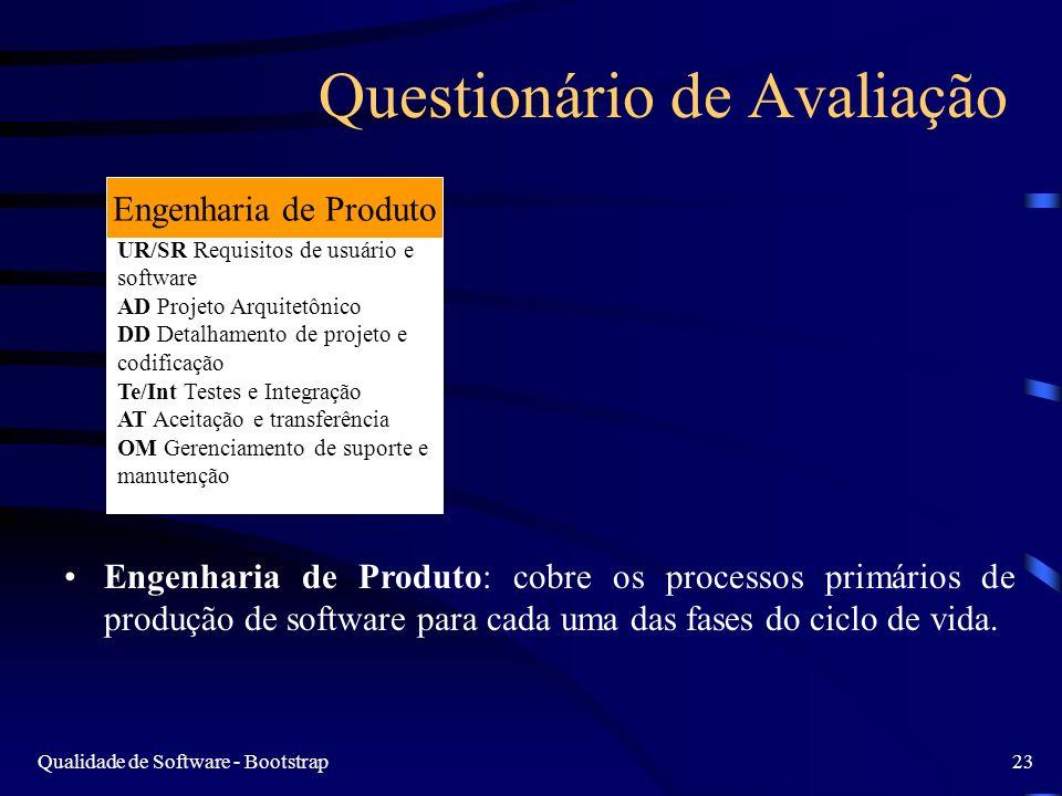 Qualidade de Software - Bootstrap23 Questionário de Avaliação Engenharia de Produto: cobre os processos primários de produção de software para cada uma das fases do ciclo de vida.