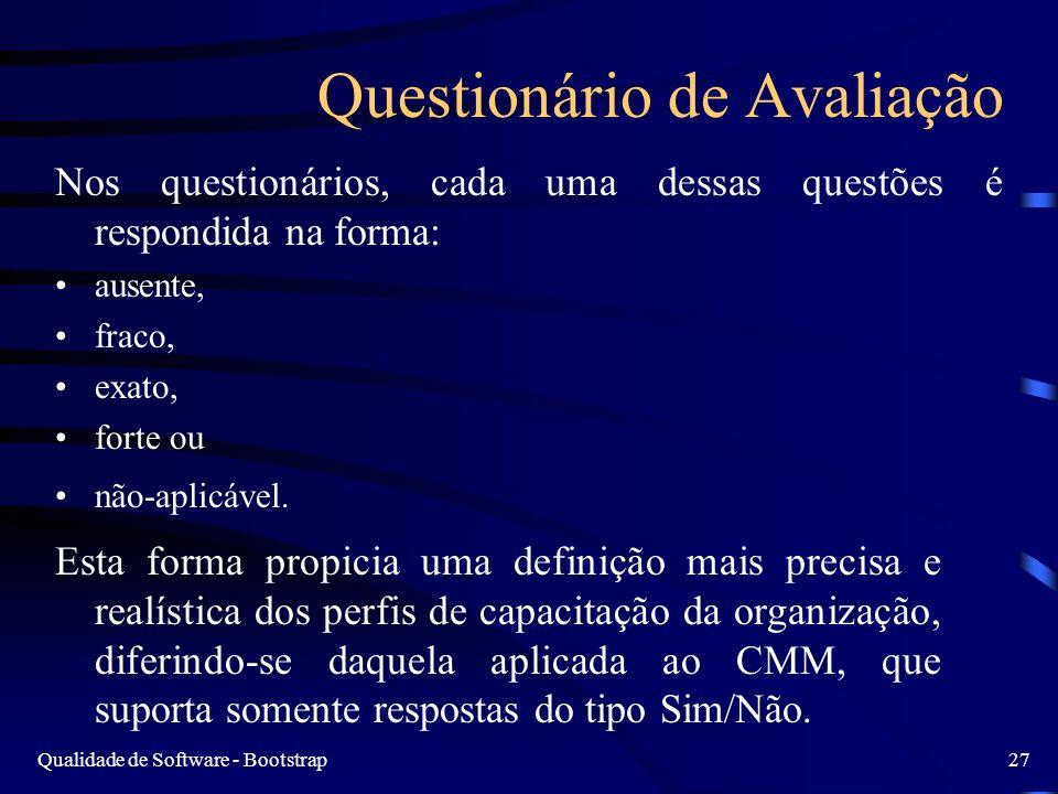 Qualidade de Software - Bootstrap27 Questionário de Avaliação Nos questionários, cada uma dessas questões é respondida na forma: ausente, fraco, exato
